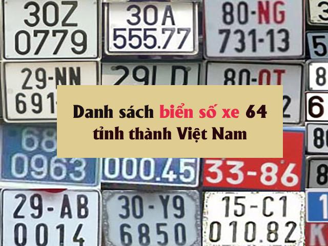 Danh sách biển số xe Việt Nam